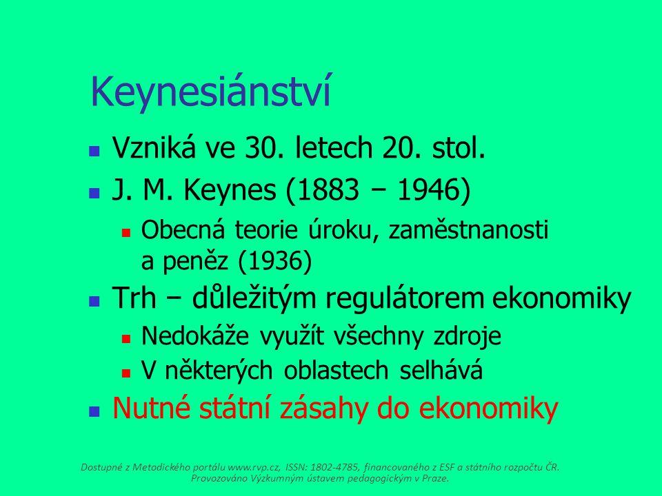 Keynesiánství Vzniká ve 30.letech 20. stol. J. M.