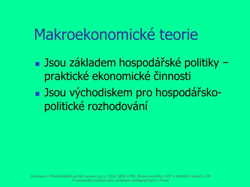Makroekonomické teorie Jsou základem hospodářské politiky − praktické ekonomické činnosti Jsou východiskem pro hospodářsko- politické rozhodování Dostupné z Metodického portálu www.rvp.cz, ISSN: 1802-4785, financovaného z ESF a státního rozpočtu ČR.