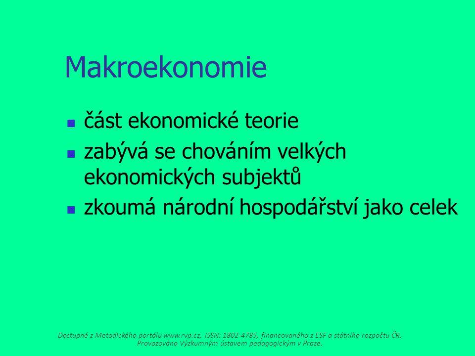 Makroekonomie část ekonomické teorie zabývá se chováním velkých ekonomických subjektů zkoumá národní hospodářství jako celek Dostupné z Metodického portálu www.rvp.cz, ISSN: 1802-4785, financovaného z ESF a státního rozpočtu ČR.