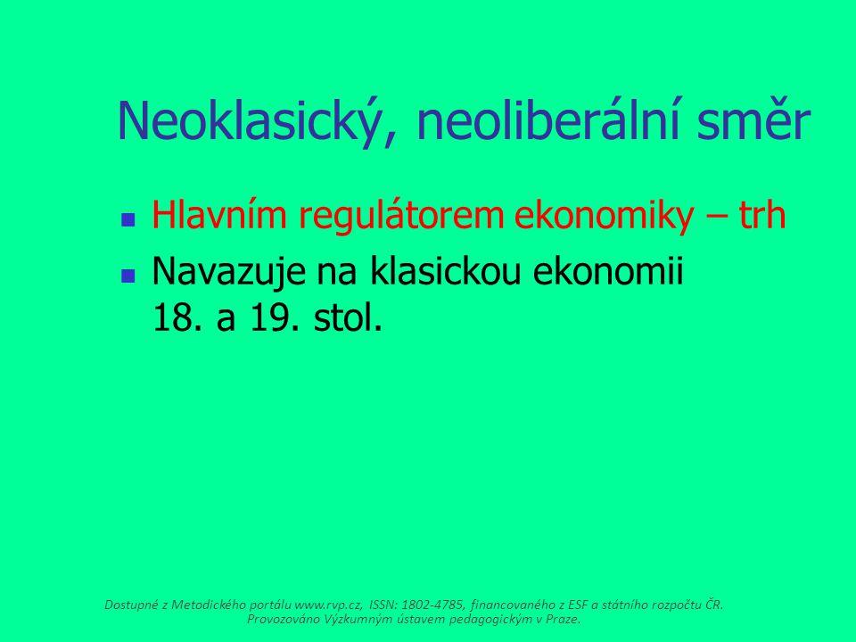Neoklasický, neoliberální směr Hlavním regulátorem ekonomiky – trh Navazuje na klasickou ekonomii 18.