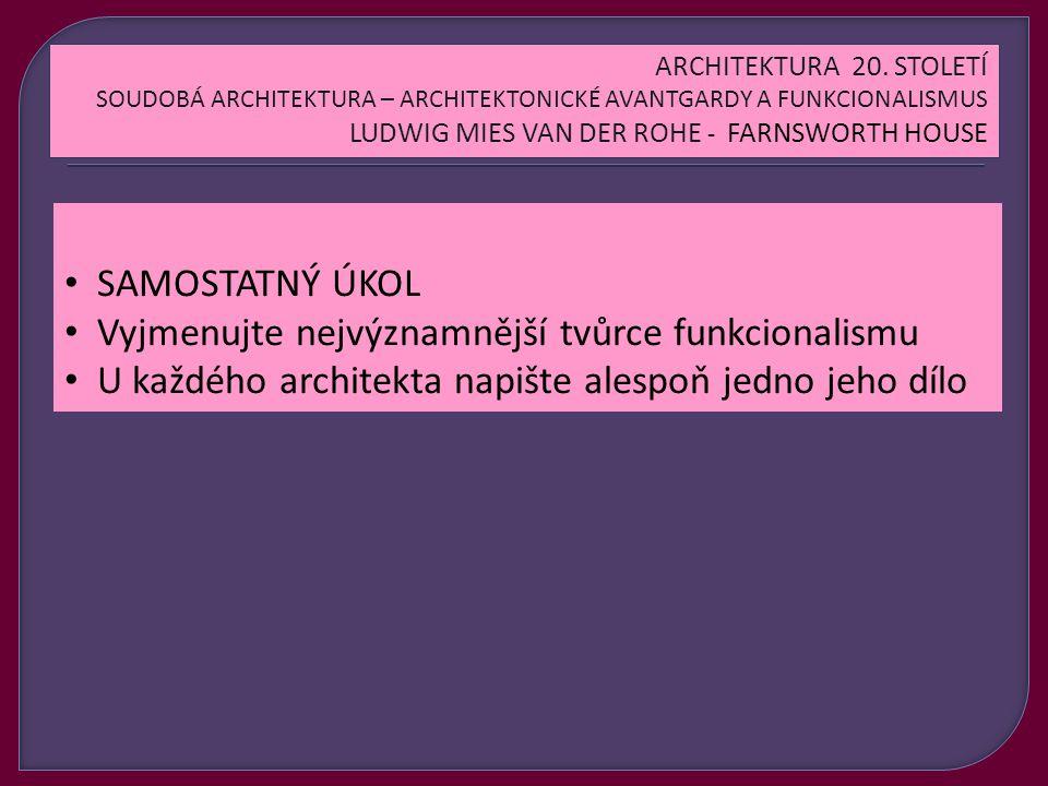 SAMOSTATNÝ ÚKOL Vyjmenujte nejvýznamnější tvůrce funkcionalismu U každého architekta napište alespoň jedno jeho dílo ARCHITEKTURA 20.
