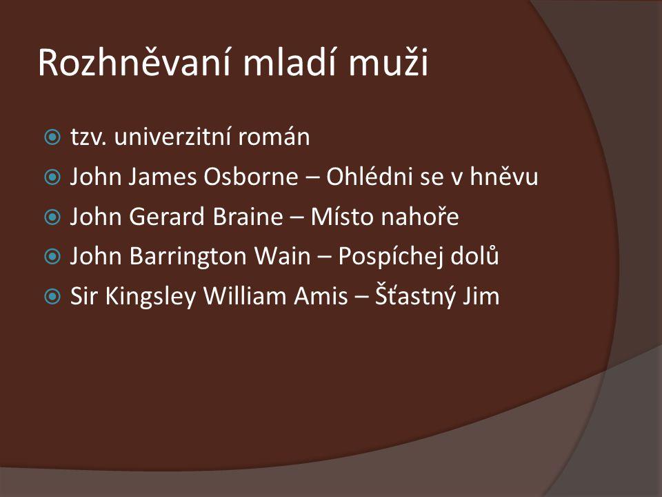 Rozhněvaní mladí muži  tzv. univerzitní román  John James Osborne – Ohlédni se v hněvu  John Gerard Braine – Místo nahoře  John Barrington Wain –