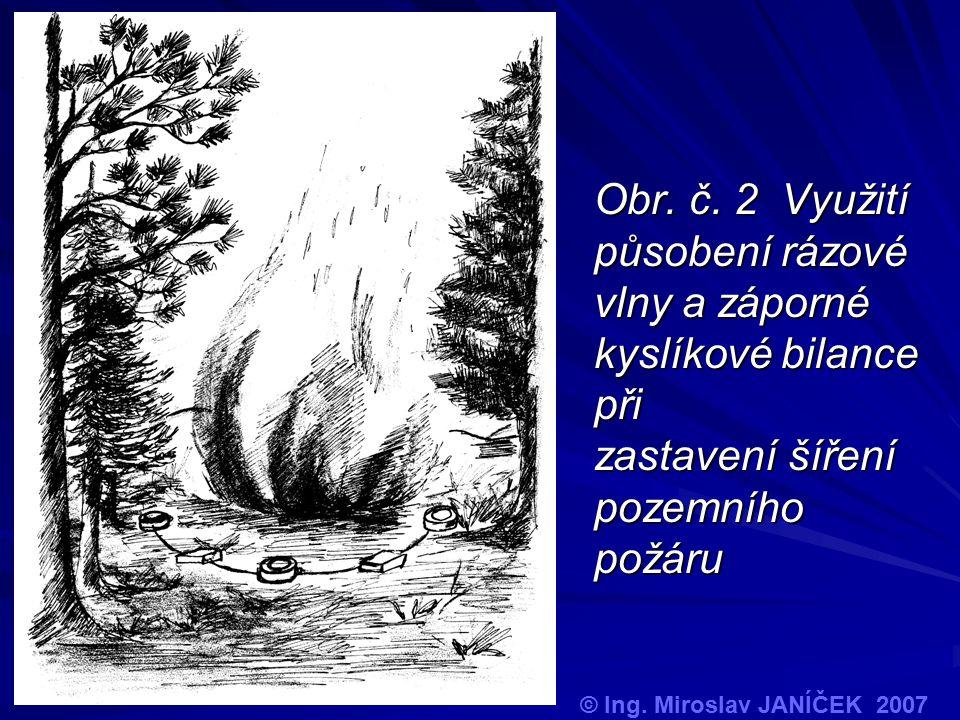 Obr. č. 2 Využití působení rázové vlny a záporné kyslíkové bilance při zastavení šíření pozemního požáru