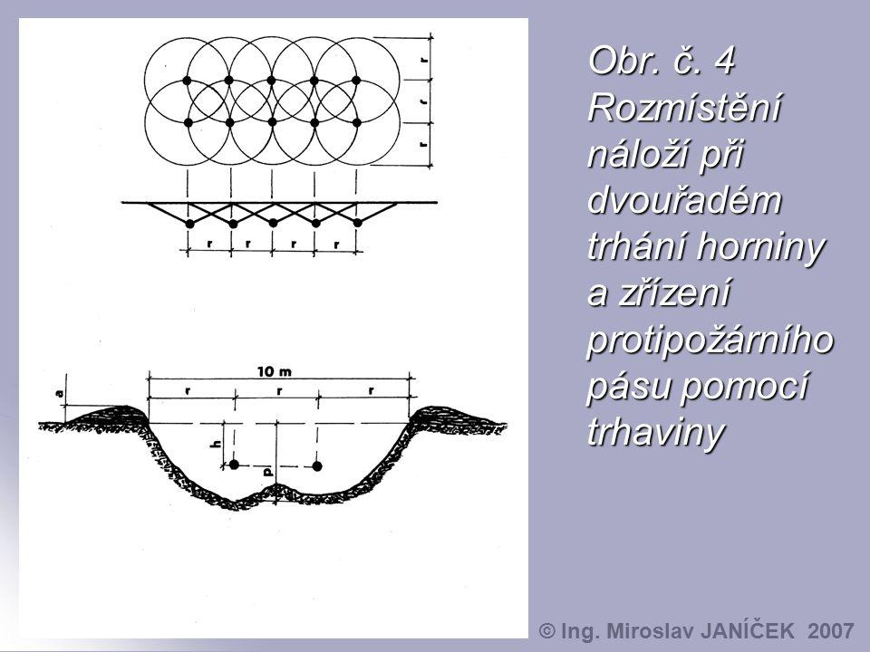 Obr. č. 4 Rozmístění náloží při dvouřadém trhání horniny a zřízení protipožárního pásu pomocí trhaviny