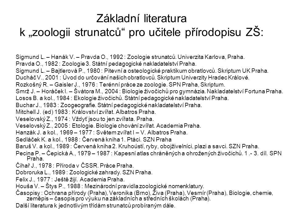 """Základní literatura k """"zoologii strunatců pro učitele přírodopisu ZŠ: Sigmund L."""