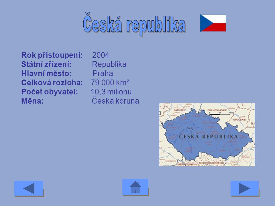 Rok přistoupení: 2007 Státní zřízení: Republika Hlavní město: Sofia Celková rozloha: 111 000 km² Počet obyvatel: 7,8 milionu Měna: Lev