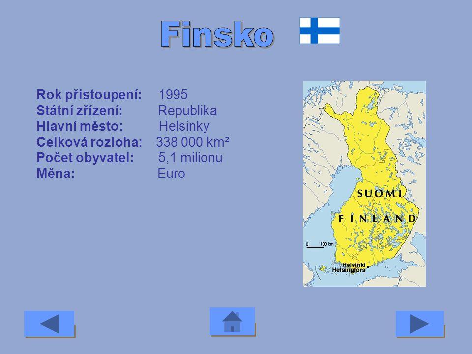 Rok přistoupení: 2004 Státní zřízení: Republika Hlavní město: Talinn Celková rozloha: 45 000 km² Počet obyvatel: 1,4 milionu Měna: Estonská koruna