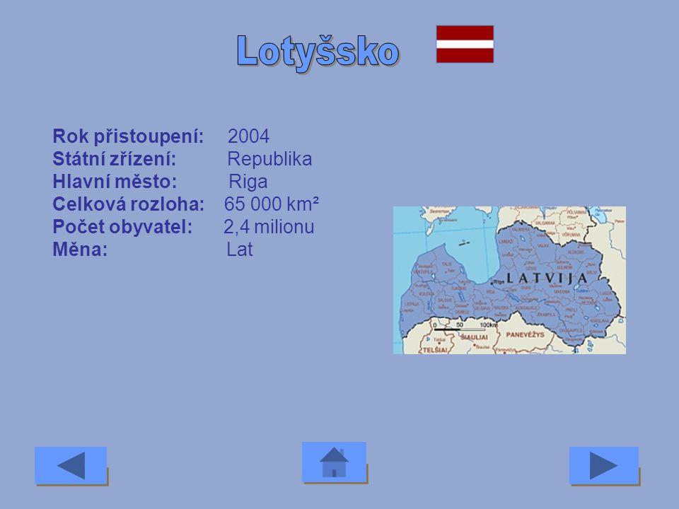 Rok přistoupení: 2004 Státní zřízení: Republika Hlavní město: Vilnius Celková rozloha: 65 000 km² Počet obyvatel: 3,7 milionu Měna: Lit
