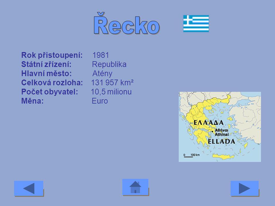 Rok přistoupení: 2007 Státní zřízení: Republika Hlavní město: Bukurešť Celková rozloha: 238 000 km² Počet obyvatel: 21,8 milionu Měna: Lei