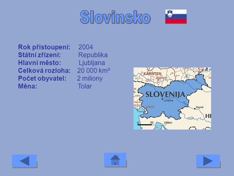 Rok přistoupení: 2004 Státní zřízení: Republika Hlavní město: Bratislava Celková rozloha: 49 000 km² Počet obyvatel: 5,4 milionu Měna: Slovenská korun