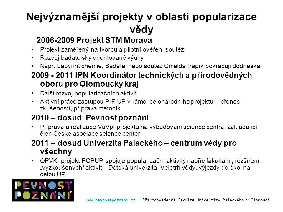 www.pevnostpoznani.czwww.pevnostpoznani.cz Přírodovědecká fakulta Univerzity Palackého v Olomouci Nejvýznamější projekty v oblasti popularizace vědy 2006-2009 Projekt STM Morava Projekt zaměřený na tvorbu a pilotní ověření soutěží Rozvoj badatelsky orientované výuky Např.