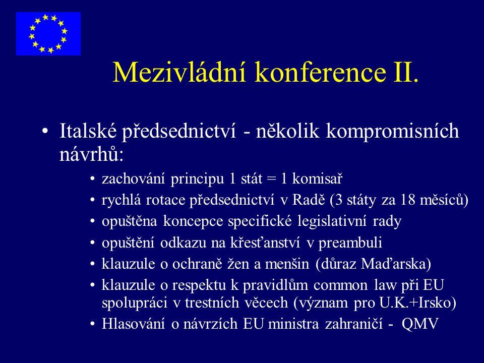 Mezivládní konference II. Italské předsednictví - několik kompromisních návrhů: zachování principu 1 stát = 1 komisař rychlá rotace předsednictví v Ra