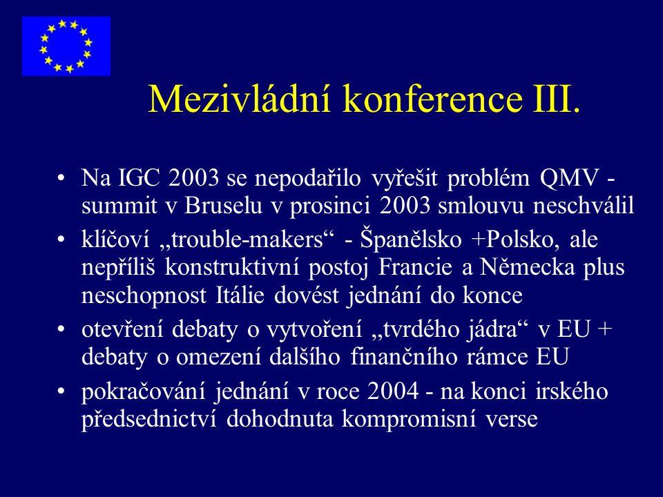 """Mezivládní konference III. Na IGC 2003 se nepodařilo vyřešit problém QMV - summit v Bruselu v prosinci 2003 smlouvu neschválil klíčoví """"trouble-makers"""
