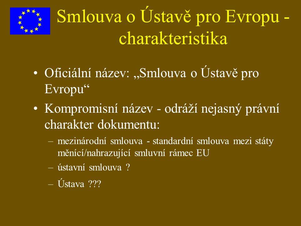"""Smlouva o Ústavě pro Evropu - charakteristika Oficiální název: """"Smlouva o Ústavě pro Evropu"""" Kompromisní název - odráží nejasný právní charakter dokum"""