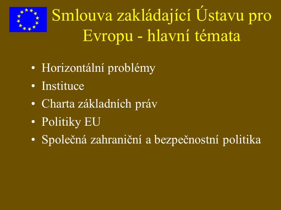 Smlouva zakládající Ústavu pro Evropu - hlavní témata Horizontální problémy Instituce Charta základních práv Politiky EU Společná zahraniční a bezpečn