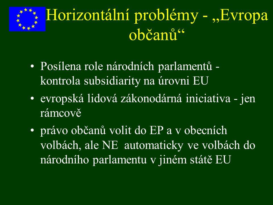 """Horizontální problémy - """"Evropa občanů"""" Posílena role národních parlamentů - kontrola subsidiarity na úrovni EU evropská lidová zákonodárná iniciativa"""