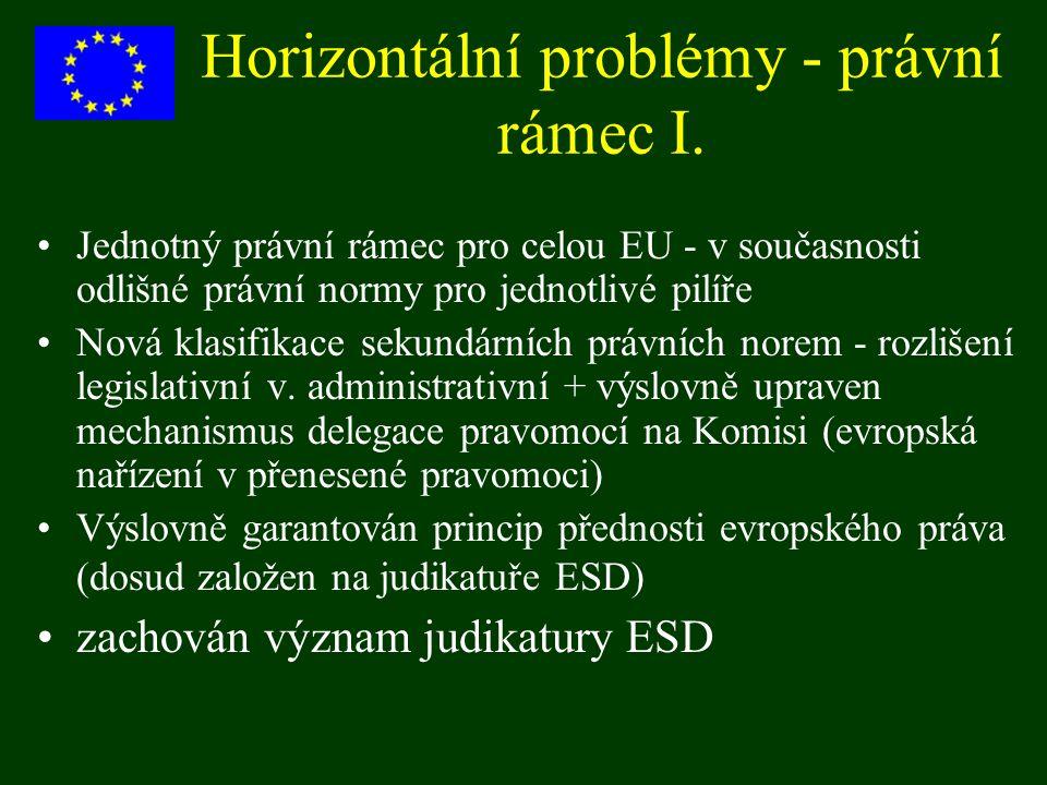 Horizontální problémy - právní rámec I. Jednotný právní rámec pro celou EU - v současnosti odlišné právní normy pro jednotlivé pilíře Nová klasifikace