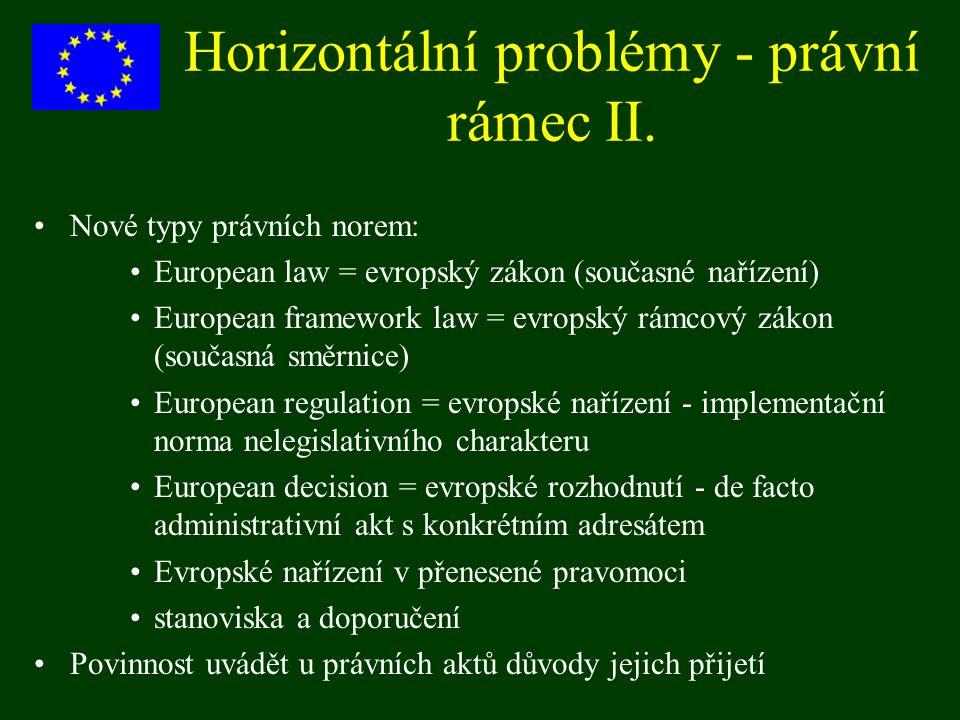 Horizontální problémy - právní rámec II. Nové typy právních norem: European law = evropský zákon (současné nařízení) European framework law = evropský