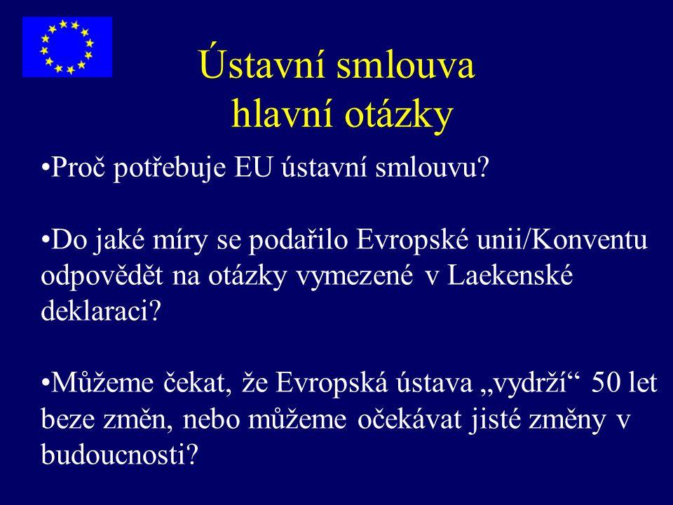"""Smlouva zakládající Ústavu pro Evropu - struktura Preambule část I - """"ústavní (59 čl.) část II - Charta základních práv EU (54 čl.) část III - Politiky (342 čl.) část IV - Závěrečné a společné klauzule (10 čl.) Protokoly (např."""