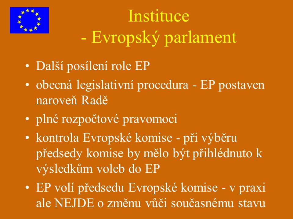 Instituce - Evropský parlament Další posílení role EP obecná legislativní procedura - EP postaven naroveň Radě plné rozpočtové pravomoci kontrola Evro