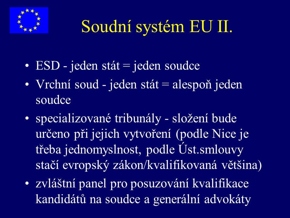 Soudní systém EU II. ESD - jeden stát = jeden soudce Vrchní soud - jeden stát = alespoň jeden soudce specializované tribunály - složení bude určeno př
