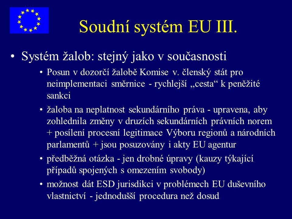 """Soudní systém EU III. Systém žalob: stejný jako v současnosti Posun v dozorčí žalobě Komise v. členský stát pro neimplementaci směrnice - rychlejší """"c"""