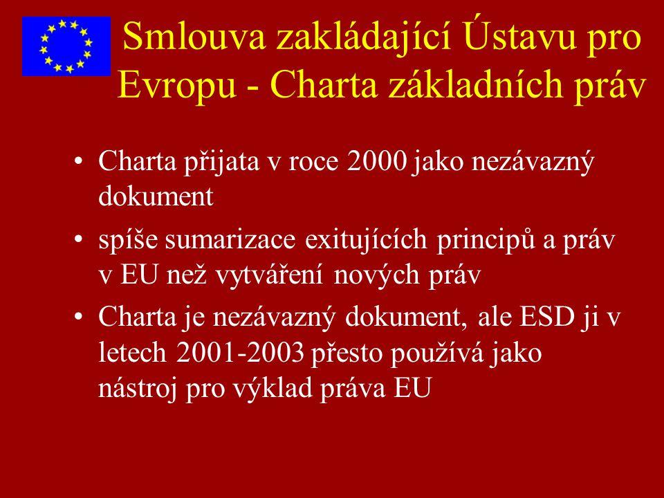 Smlouva zakládající Ústavu pro Evropu - Charta základních práv Charta přijata v roce 2000 jako nezávazný dokument spíše sumarizace exitujících princip