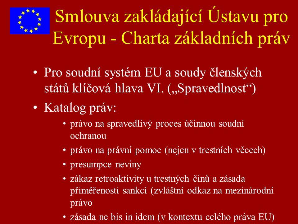 """Smlouva zakládající Ústavu pro Evropu - Charta základních práv Pro soudní systém EU a soudy členských států klíčová hlava VI. (""""Spravedlnost"""") Katalog"""