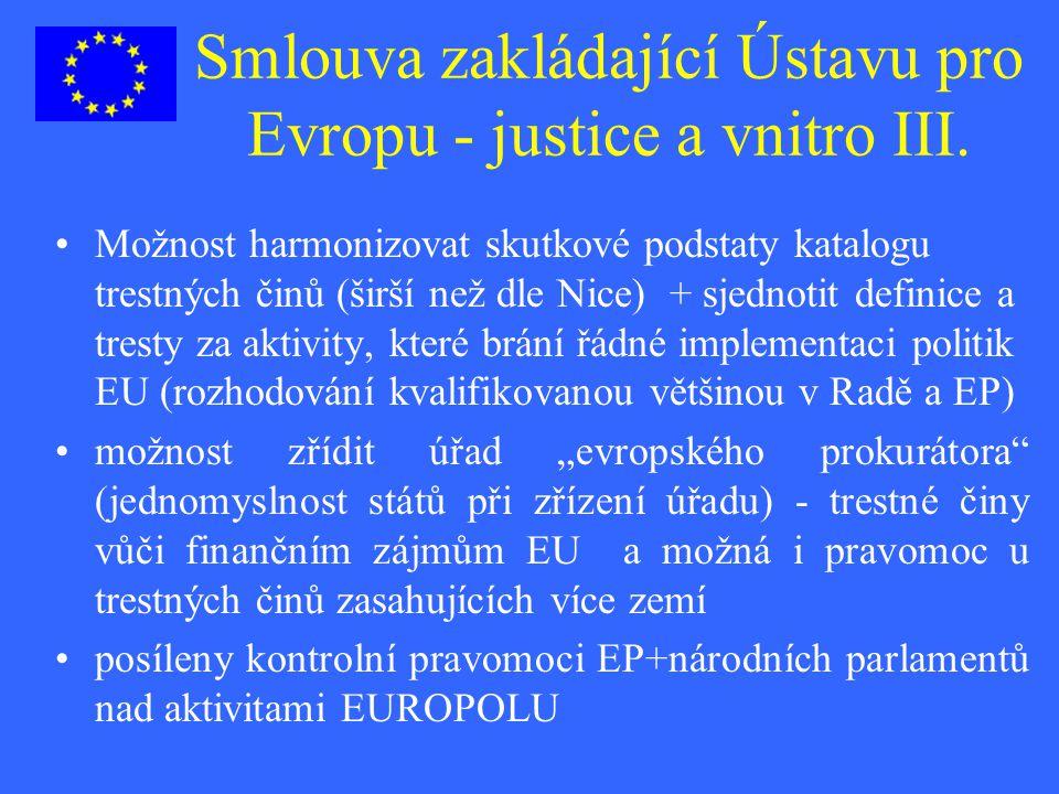 Smlouva zakládající Ústavu pro Evropu - justice a vnitro III. Možnost harmonizovat skutkové podstaty katalogu trestných činů (širší než dle Nice) + sj