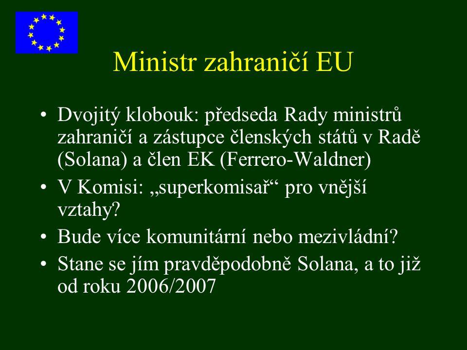 Ministr zahraničí EU Dvojitý klobouk: předseda Rady ministrů zahraničí a zástupce členských států v Radě (Solana) a člen EK (Ferrero-Waldner) V Komisi