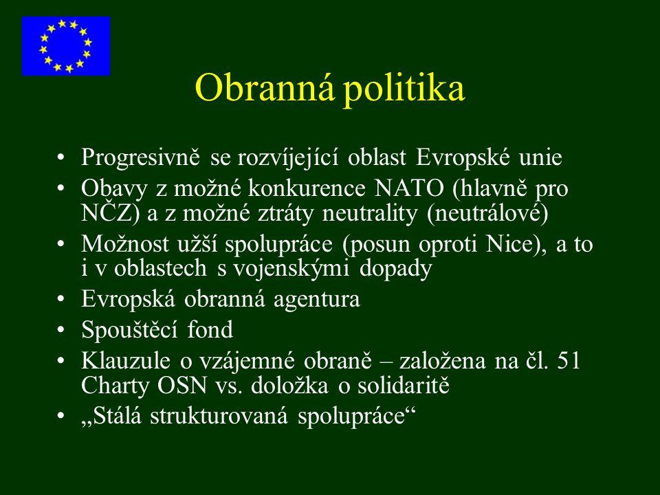 Obranná politika Progresivně se rozvíjející oblast Evropské unie Obavy z možné konkurence NATO (hlavně pro NČZ) a z možné ztráty neutrality (neutrálov