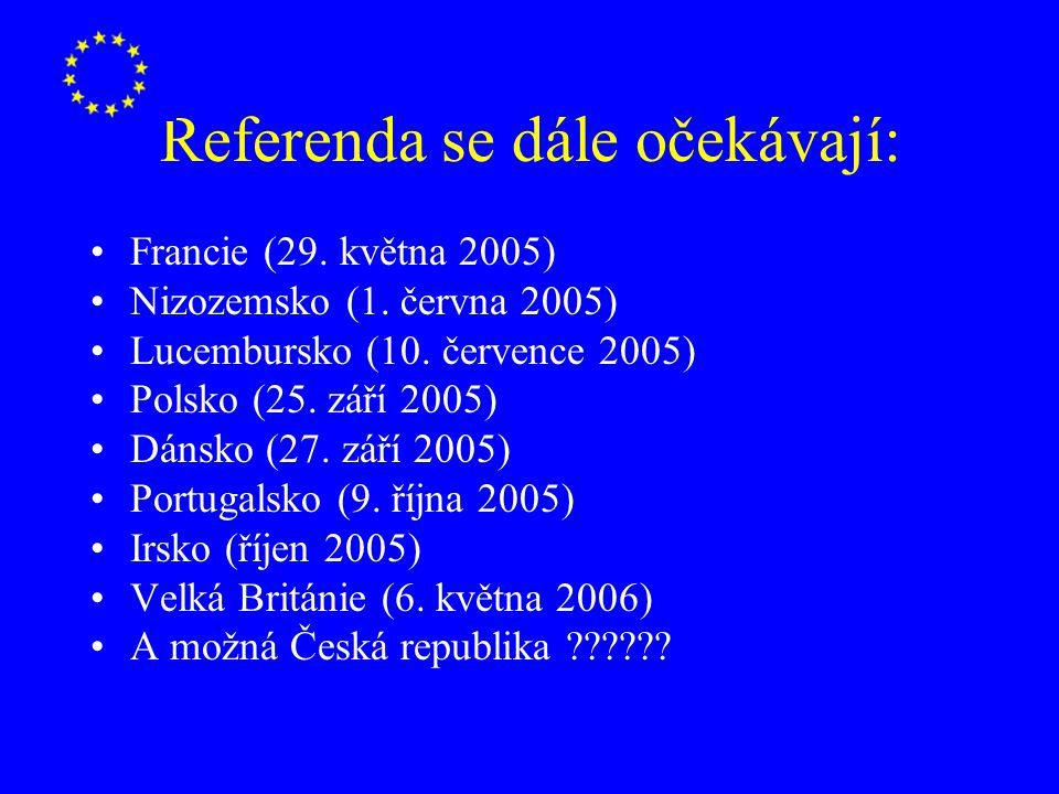 Referenda se dále očekávají: Francie (29. května 2005) Nizozemsko (1. června 2005) Lucembursko (10. července 2005) Polsko (25. září 2005) Dánsko (27.