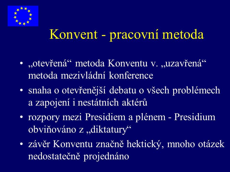 Konvent - Prezidium V.Giscard d'Estaing - předseda Konventu (Fr.) G.