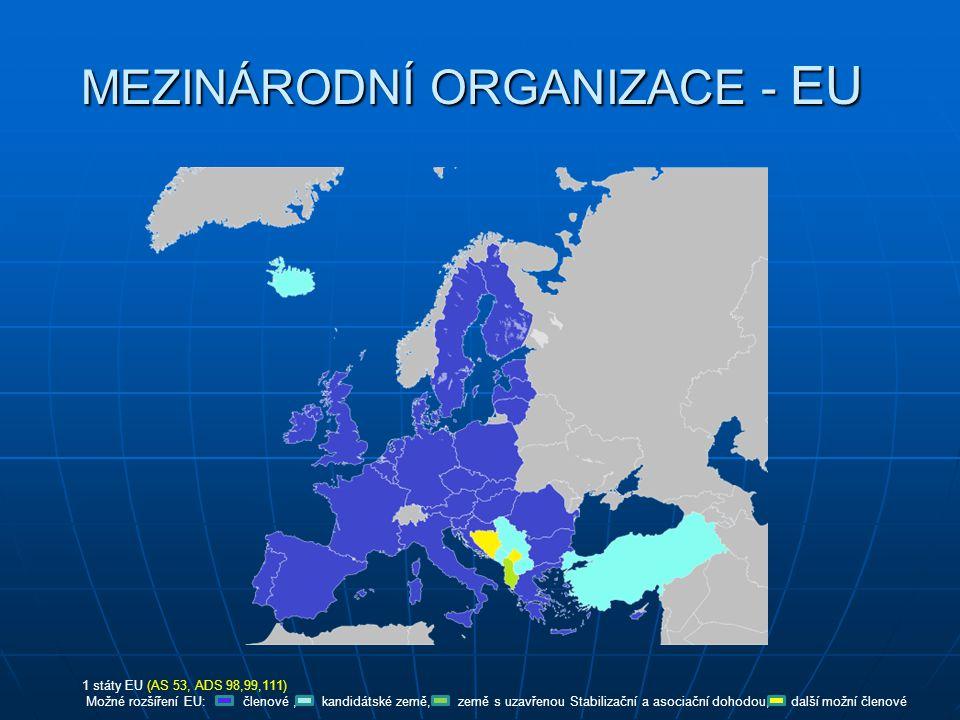 MEZINÁRODNÍ ORGANIZACE - EU 1 státy EU (AS 53, ADS 98,99,111) Možné rozšíření EU: členové, kandidátské země, země s uzavřenou Stabilizační a asociační dohodou, další možní členové