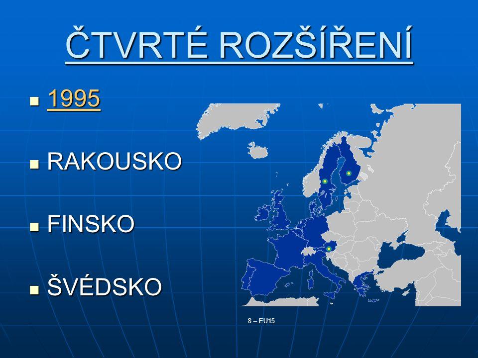 ČTVRTÉ ROZŠÍŘENÍ 1995 1995 RAKOUSKO RAKOUSKO FINSKO FINSKO ŠVÉDSKO ŠVÉDSKO 8 – EU15