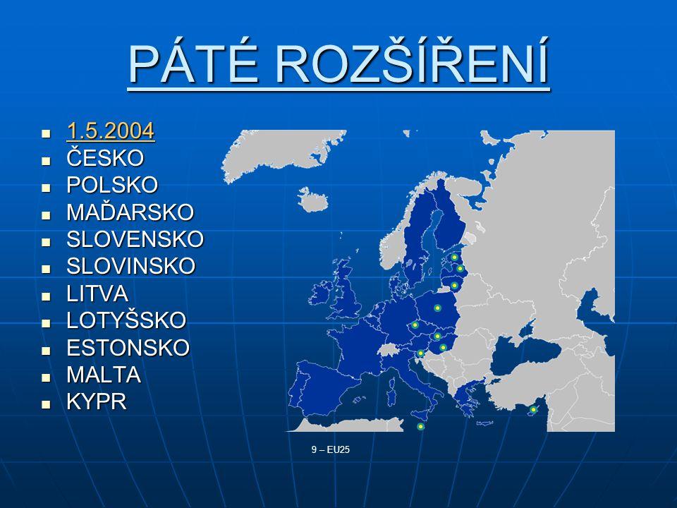 PÁTÉ ROZŠÍŘENÍ 1.5.2004 1.5.2004 ČESKO ČESKO POLSKO POLSKO MAĎARSKO MAĎARSKO SLOVENSKO SLOVENSKO SLOVINSKO SLOVINSKO LITVA LITVA LOTYŠSKO LOTYŠSKO ESTONSKO ESTONSKO MALTA MALTA KYPR KYPR 9 – EU25