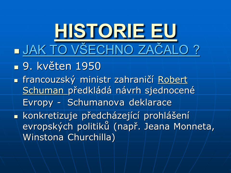 HISTORIE EU HISTORIE EU JAK TO VŠECHNO ZAČALO ? JAK TO VŠECHNO ZAČALO ? 9. květen 1950 9. květen 1950 francouzský ministr zahraničí Robert Schuman pře