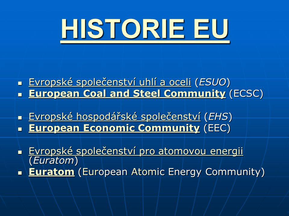 HISTORIE EU HISTORIE EU Evropské společenství uhlí a oceli (ESUO) Evropské společenství uhlí a oceli (ESUO) Evropské společenství uhlí a oceli Evropsk