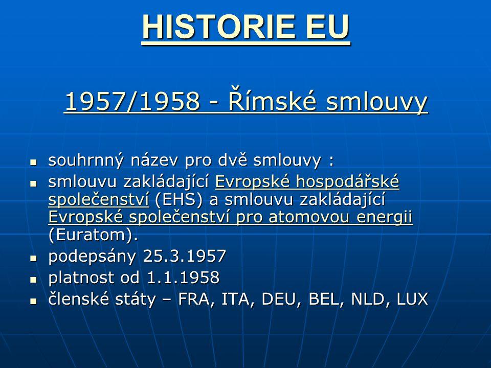 HISTORIE EU HISTORIE EU 1957/1958 - Římské smlouvy 1957/1958 - Římské smlouvy souhrnný název pro dvě smlouvy : souhrnný název pro dvě smlouvy : smlouvu zakládající Evropské hospodářské společenství (EHS) a smlouvu zakládající Evropské společenství pro atomovou energii (Euratom).