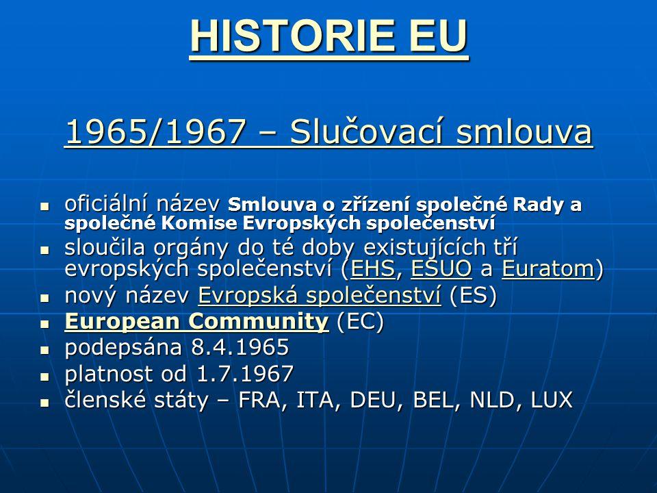 HISTORIE EU HISTORIE EU 1965/1967 – Slučovací smlouva 1965/1967 – Slučovací smlouva oficiální název Smlouva o zřízení společné Rady a společné Komise Evropských společenství oficiální název Smlouva o zřízení společné Rady a společné Komise Evropských společenství sloučila orgány do té doby existujících tří evropských společenství (EHS, ESUO a Euratom) sloučila orgány do té doby existujících tří evropských společenství (EHS, ESUO a Euratom)EHSESUOEuratomEHSESUOEuratom nový název Evropská společenství (ES) nový název Evropská společenství (ES)Evropská společenstvíEvropská společenství European Community (EC) European Community (EC) European Community European Community podepsána 8.4.1965 podepsána 8.4.1965 platnost od 1.7.1967 platnost od 1.7.1967 členské státy – FRA, ITA, DEU, BEL, NLD, LUX členské státy – FRA, ITA, DEU, BEL, NLD, LUX