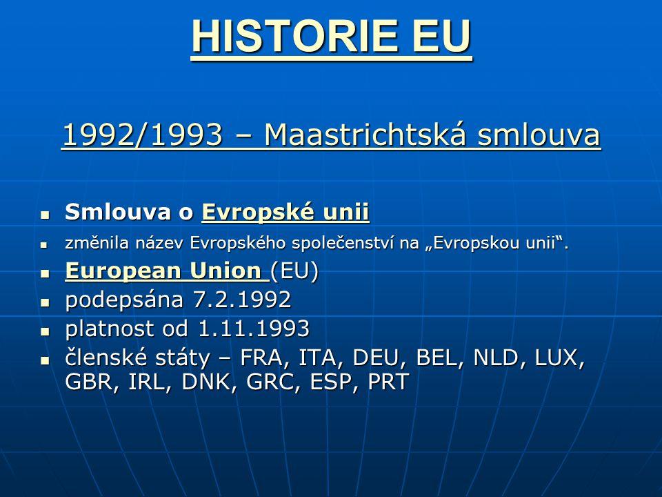 """HISTORIE EU HISTORIE EU 1992/1993 – Maastrichtská smlouva 1992/1993 – Maastrichtská smlouva Smlouva o Evropské unii Smlouva o Evropské uniiEvropské uniiEvropské unii změnila název Evropského společenství na """"Evropskou unii ."""