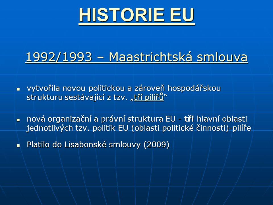 HISTORIE EU HISTORIE EU 1992/1993 – Maastrichtská smlouva 1992/1993 – Maastrichtská smlouva vytvořila novou politickou a zároveň hospodářskou strukturu sestávající z tzv.