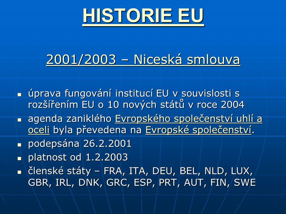 HISTORIE EU HISTORIE EU 2001/2003 – Niceská smlouva 2001/2003 – Niceská smlouva úprava fungování institucí EU v souvislosti s rozšířením EU o 10 nových států v roce 2004 úprava fungování institucí EU v souvislosti s rozšířením EU o 10 nových států v roce 2004 agenda zaniklého Evropského společenství uhlí a oceli byla převedena na Evropské společenství.
