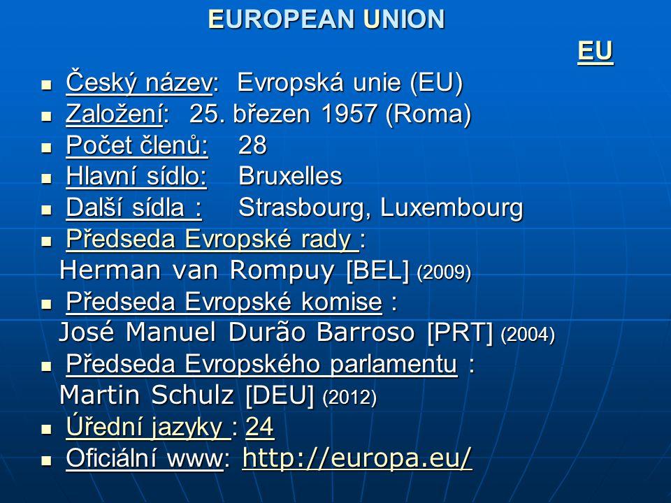 EUROPEAN UNION EU Český název: Evropská unie (EU) Český název: Evropská unie (EU) Založení: 25. březen 1957 (Roma) Založení: 25. březen 1957 (Roma) Po