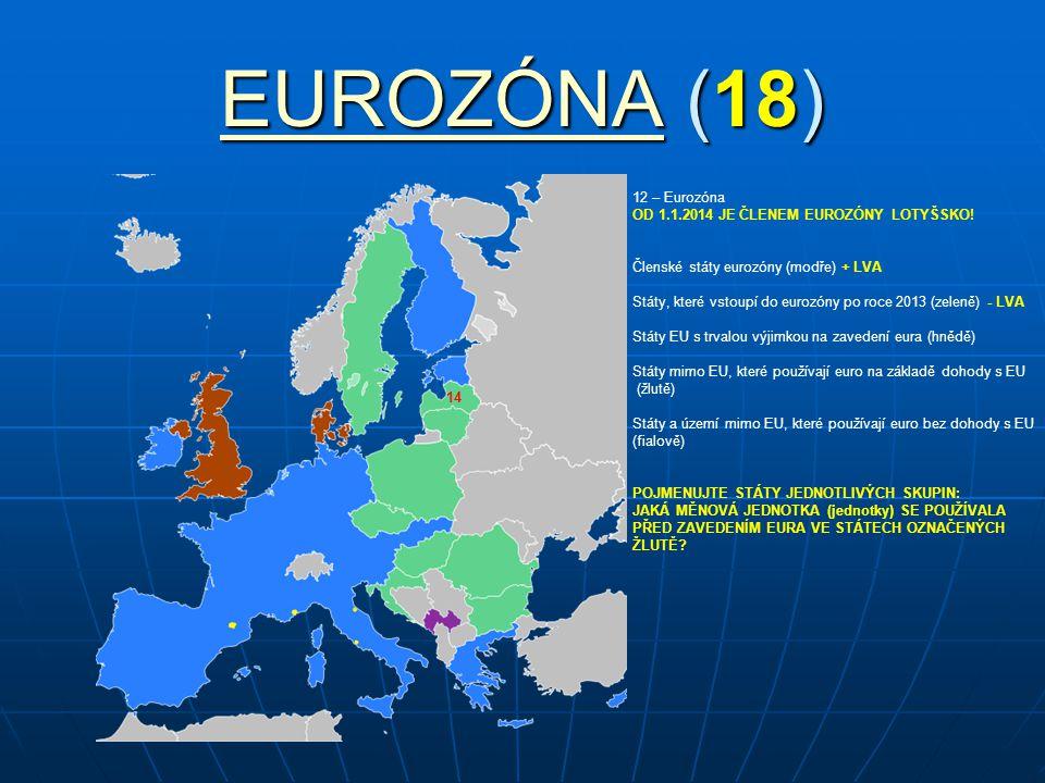 EUROZÓNAEUROZÓNA (18) EUROZÓNA 12 – Eurozóna OD 1.1.2014 JE ČLENEM EUROZÓNY LOTYŠSKO! Členské státy eurozóny (modře) + LVA Státy, které vstoupí do eur