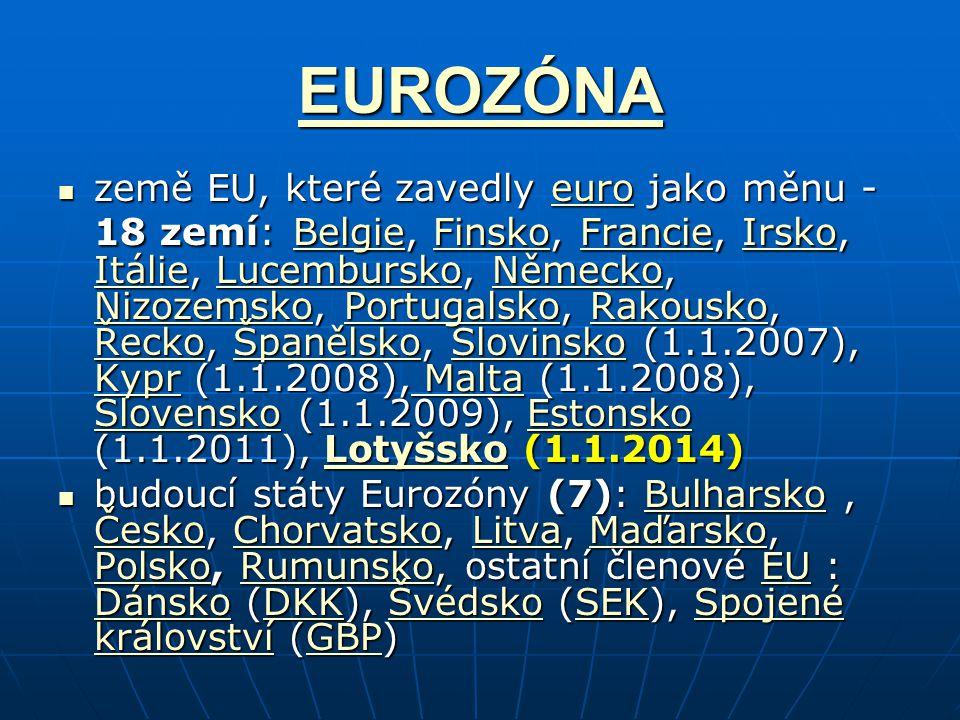 EUROZÓNA země EU, které zavedly euro jako měnu - 18 zemí: Belgie, Finsko, Francie, Irsko, Itálie, Lucembursko, Německo, Nizozemsko, Portugalsko, Rakousko, Řecko, Španělsko, Slovinsko (1.1.2007), Kypr (1.1.2008), Malta (1.1.2008), Slovensko (1.1.2009), Estonsko (1.1.2011), Lotyšsko (1.1.2014) země EU, které zavedly euro jako měnu - 18 zemí: Belgie, Finsko, Francie, Irsko, Itálie, Lucembursko, Německo, Nizozemsko, Portugalsko, Rakousko, Řecko, Španělsko, Slovinsko (1.1.2007), Kypr (1.1.2008), Malta (1.1.2008), Slovensko (1.1.2009), Estonsko (1.1.2011), Lotyšsko (1.1.2014)euro BelgieFinskoFrancieIrsko ItálieLucemburskoNěmecko NizozemskoPortugalskoRakousko ŘeckoŠpanělskoSlovinsko Kypr Malta SlovenskoEstonskoLotyšskoeuro BelgieFinskoFrancieIrsko ItálieLucemburskoNěmecko NizozemskoPortugalskoRakousko ŘeckoŠpanělskoSlovinsko Kypr Malta SlovenskoEstonskoLotyšsko budoucí státy Eurozóny (7): Bulharsko, Česko, Chorvatsko, Litva, Maďarsko, Polsko, Rumunsko, ostatní členové EU : Dánsko (DKK), Švédsko (SEK), Spojené království (GBP) budoucí státy Eurozóny (7): Bulharsko, Česko, Chorvatsko, Litva, Maďarsko, Polsko, Rumunsko, ostatní členové EU : Dánsko (DKK), Švédsko (SEK), Spojené království (GBP)Bulharsko ČeskoChorvatskoLitvaMaďarsko PolskoRumunskoEU DánskoDKKŠvédskoSEKSpojené královstvíGBPBulharsko ČeskoChorvatskoLitvaMaďarsko PolskoRumunskoEU DánskoDKKŠvédskoSEKSpojené královstvíGBP