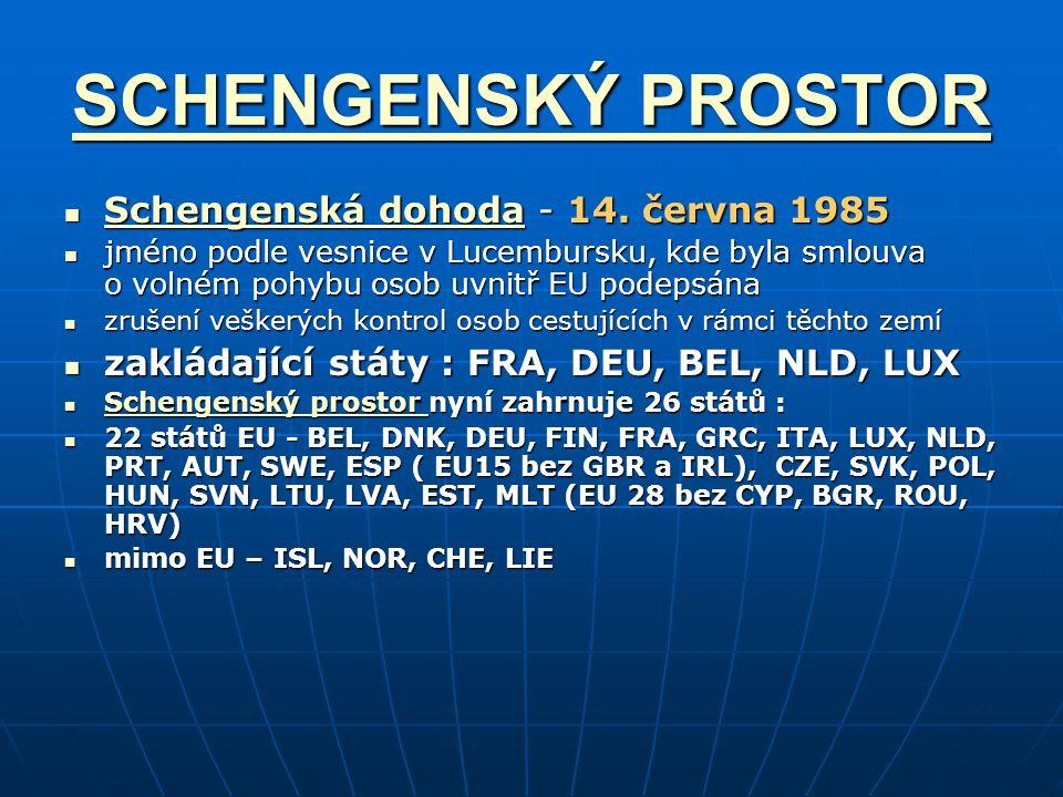 SCHENGENSKÝ PROSTOR SCHENGENSKÝ PROSTOR Schengenská dohoda - 14. června 1985 Schengenská dohoda - 14. června 1985 Schengenská dohoda Schengenská dohod