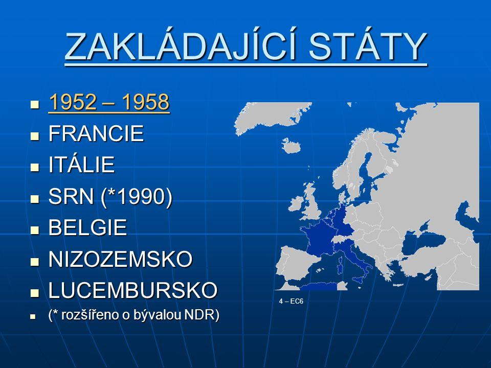 ZAKLÁDAJÍCÍ STÁTY 1952 – 1958 1952 – 1958 FRANCIE FRANCIE ITÁLIE ITÁLIE SRN (*1990) SRN (*1990) BELGIE BELGIE NIZOZEMSKO NIZOZEMSKO LUCEMBURSKO LUCEMBURSKO (* rozšířeno o bývalou NDR) (* rozšířeno o bývalou NDR) 4 – EC6