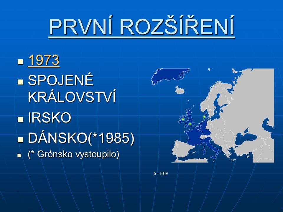 PRVNÍ ROZŠÍŘENÍ 1973 1973 SPOJENÉ KRÁLOVSTVÍ SPOJENÉ KRÁLOVSTVÍ IRSKO IRSKO DÁNSKO(*1985) DÁNSKO(*1985) (* Grónsko vystoupilo) (* Grónsko vystoupilo)