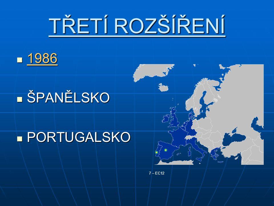 TŘETÍ ROZŠÍŘENÍ 1986 1986 ŠPANĚLSKO ŠPANĚLSKO PORTUGALSKO PORTUGALSKO 7 – EC12